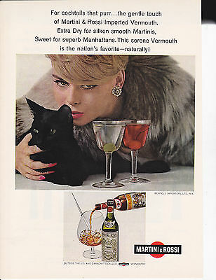 Original Print Ad-1964 For Cocktails That Purr-Martini & Rossi Imported Vermouth