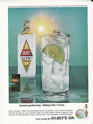 Original Print Ad-1965 End of a perfect day-GILBEY'S GIN 'N TONIC-London Dry