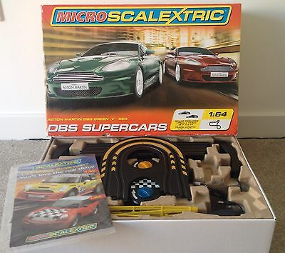 Micro Scalextric DBS Supercars Racing Aston Martin Boxed Set Track Cars Remotes