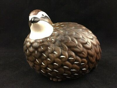 Vintage Ceramic Quail Statue Figurine-Brown Feathers With White Head-By W.g.s.