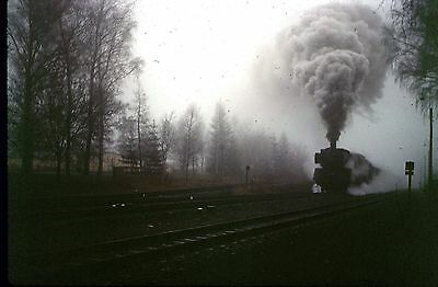 35Mm Colour Slide German Railway Db Steam Loco On Train Schiefe Ebene 1972 Smoke