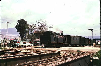 35Mm Colour Slide Turkish Railway Steam Locomotive Tank On Train At Station 1972