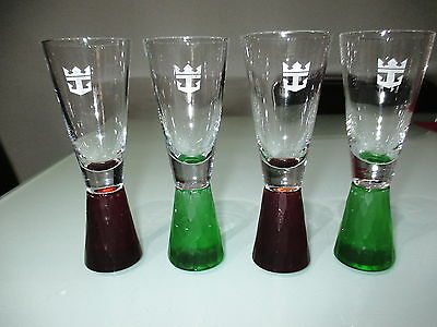 Four Royal Caribbean Logo Shooter/ Shot Glasses Frosted Base
