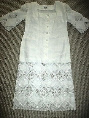 Vintage Wedding/Tea/Garden WHITE LINEN AND LACE DRESS LINA MAR EUROPE
