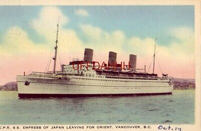 """1938 C.P.R. SS """"EMPRESS"""" OF JAPAN LEAVING FOR ORIENT from VANCOUVER, BC CANADA"""