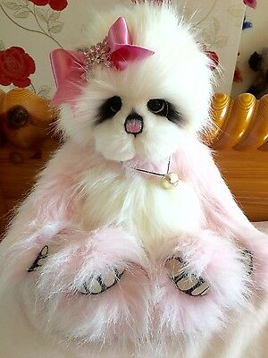 Baby is a pink panda bear with bling by Madabout Bears OOAK
