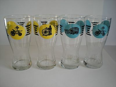 Vintage/Retro Drinking Glasses x 4 with Penny Farthing Design
