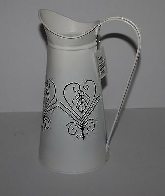 New Shabby Distressed Country Chic  Metal Jug Vase  REDUCED