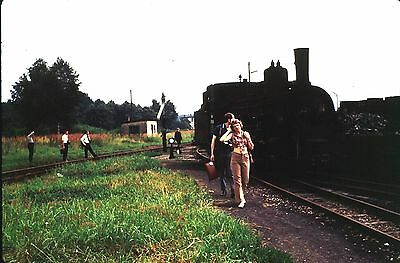 35Mm Colour Slide Austrian Railway Steam Loco 399.04 In Yard With People 1972