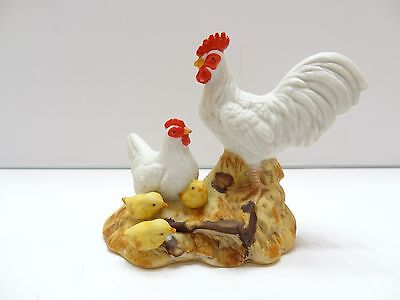 EUC Homco White Rooster Chicken Yellow Baby Chicks Figurine 1459 Vintage