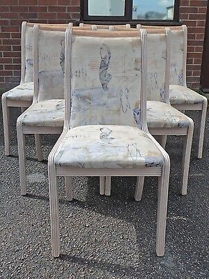 Set of 6 French empire antique style solid limed oak upholstered dining chairs