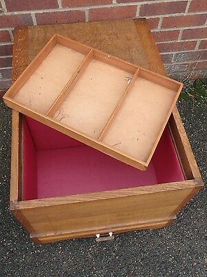 Edwardian antique Arts & Crafts solid golden oak 1 drawer workbox blanket box