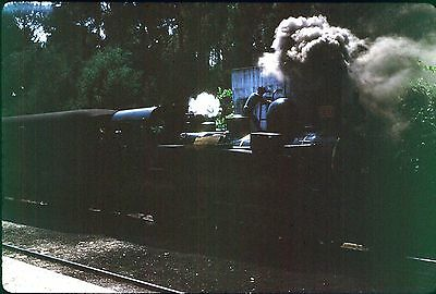 35Mm Colour Slide Portugal Railway Steam Locomotive E97 On Train Station 1972