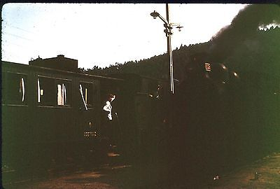 35Mm Colour Slide Portugal Railway Steam Locomotive E124 On Train Station 1972