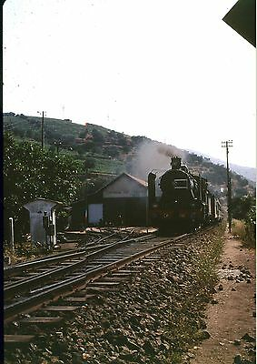 35Mm Colour Slide Portugal Railway Steam Locomotive Cp 292 1972 On Train Shed