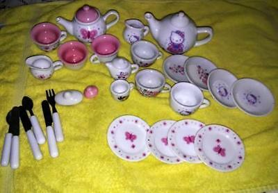 31 Pieces Porcelain Childs Tea Sets & Silverware Hello Ktty Schylling Odds & End