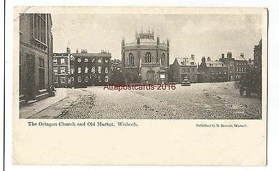 Cambs Wisbech Octagon Church & Old Market 1904 Vintage Postcard 25.10