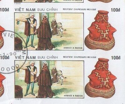 Vietnam Sheet of 100 Dong Discovery of America Stamps 1990 CTO