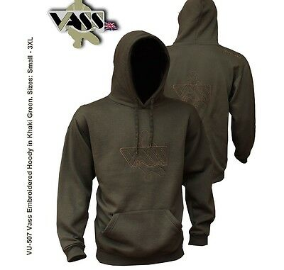 VASS 507 CARP Fishing Embroidered Hoody KHAKI GREEN Edition - All Sizes