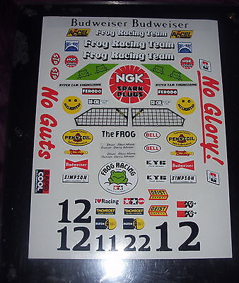 FROG  CUSTOM TAMIYA HPI & LOSI  PRECUT DECALS STICKERS VINTAGE 1/10th RC CARS