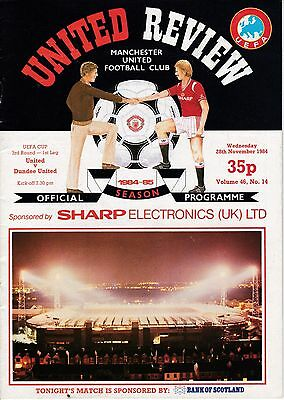 MANCHESTER UNITED  v  DUNDEE UNITED  ( UEFA Cup )  1984/5.