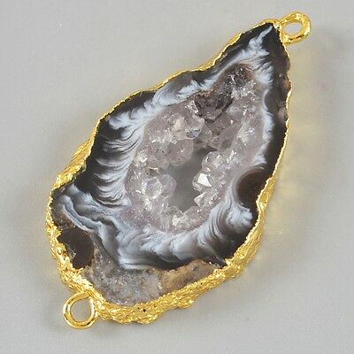 Natural Agate Druzy Geode Connector Gold Plated B026272