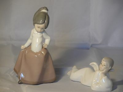 2 X Lladro Nao Figurines Young Girl With Long Skirt Vgc & Lying Down Angel A/f