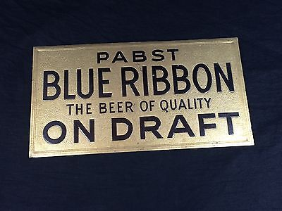 Pabst Blue Ribbon Beer Cardboard Sign Embossed 1930's On Draft