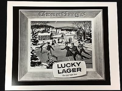 """Lucky Lager Beer Photograph 10""""X 8"""" Old Sign Photo Ice Skating"""