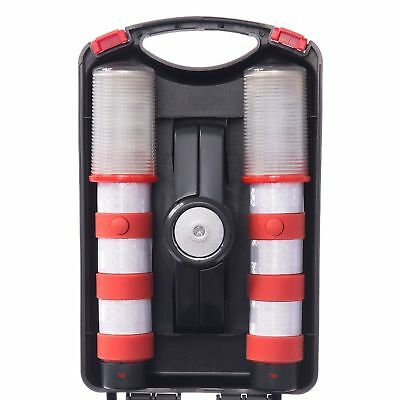 Two RED LED Flashing Roadside Magnetic Emergency Beacon Flares + Solid Case