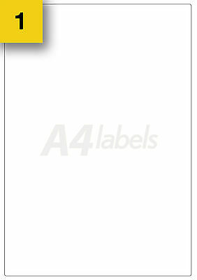 5 x White Sticky Whole Page A4 Laser / Inkjet Printer Blank Sheet Labels. L7167