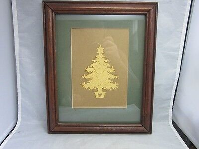 Vtg hand crafted paper cut of a Christmas tree. Framed, matted