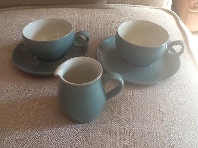 Green Denby Stoneware 2 Cups And Saucers And 1 Cream Jug. VGC