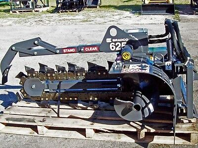 Skid Steer Trencher Attachment,Bradco 625 Fits Bobcat,Cat,Case,Deere,New Holland