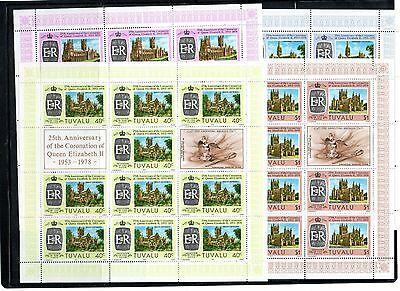 Tuvalu 1978 Coronation Anniv.four Values In Sheets Of Ten .mnh