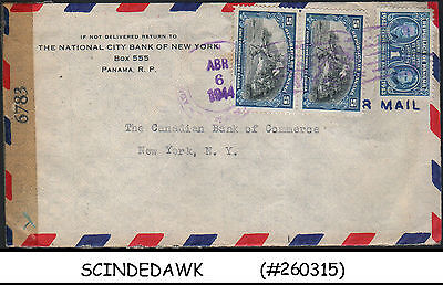 Panama - 1944 Air Mail Envelope To  New York, Usa With Stamps