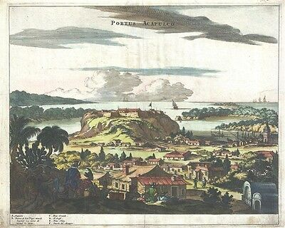 1671 Ogilby View of Acapulco, Mexico