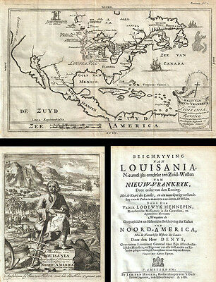 1688 Hennepin First Book and Map of North America (first printed map to name Lou