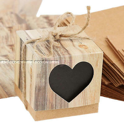 10PCS Heart Love Rustic Sweet Laser Cut Candy Gift Boxes Wedding Party Black 01