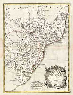 1771 Bonne Map of Paraguay, Uruguay, and Brazil