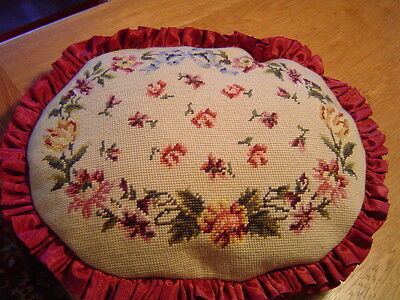 Vintage Needlepoint Pillow Hand Stitched Floral Design