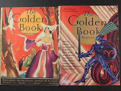 Lot: Two 1930 Art Deco The Golden Book Magazine Covers (Only)~Medieval