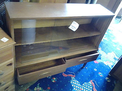STYLISH VINTAGE RETRO TEAK BOOKCASE / CABINET / GLASS SLIDING DOORS -1960-70's