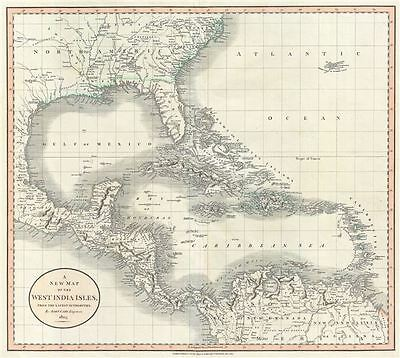 1803 Cary Map of Florida, Central America, the Bahamas, and the West Indies