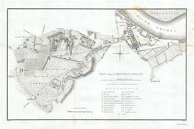 1811 Yeakell Map or Plan of the Ordnance Grounds at Woolwich, London, England
