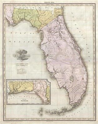 1825 Tanner's Monumental Map of Florida