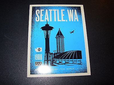 "SUB POP SEATTLE 4"" BLUE SKYLINE SPACE NEEDLE Sticker Decal pearl jam nirvana"