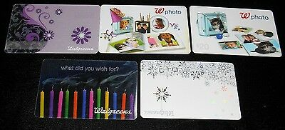 5 Collectible Gift Card Walgreens Pharmacy Drug Store Dif Lot No Value  2010
