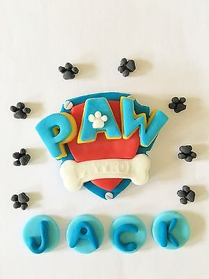 Edible In The Style Of Paw Patrol Logo Paw Prints Name Cake Decoration Topper
