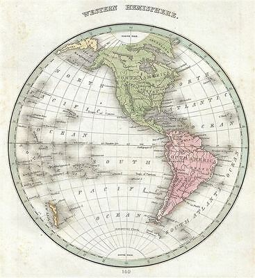 1835 Bradford Map of the Western Hemisphere (North America, South America)